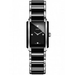 Rado Ladies Integral Diamonds Quartz Black and Silver Ceramic Bracelet Watch R20613712 S