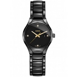 Rado Ladies True Diamonds Quartz Black Ceramic Bracelet Watch R27059712 S