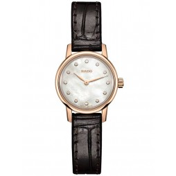 Rado Ladies Coupole Classic Diamonds Quartz Black Leather Strap Watch R22891915 XS