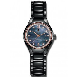 Rado Ladies True Diamonds Automatic Black Ceramic Bracelet Watch R27242852