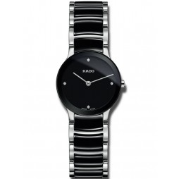 Rado Ladies Centrix Diamonds Quartz Black and Silver Ceramic Bracelet Watch R30191712