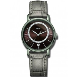 Rado Ladies DiaMaster Diamonds Quartz Grey Leather Strap Watch R14064735