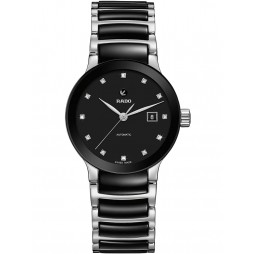 Rado Ladies Centrix Diamonds Automatic Black and Silver Ceramic Bracelet Watch R30009752