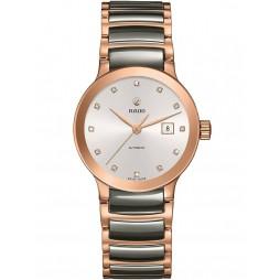 Rado Ladies Centrix Diamonds Automatic Grey and Rose Ceramic Bracelet Watch R30183762