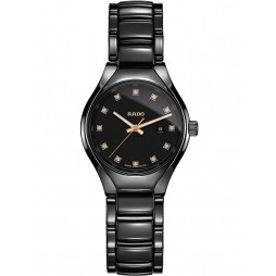 Rado Ladies True Diamonds Quartz Black Ceramic Bracelet Watch R27059732