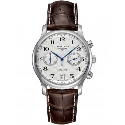 Longines Master Chronograph Silver Dial Dark Brown Leather Strap Watch L26694783