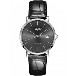 Longines Elegant Sunray Grey Dial Black Leather Strap Watch L49104722