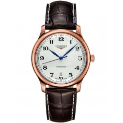 Longines Master 18ct Rose Gold Brown Leather Strap Watch L26288783