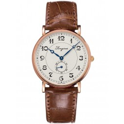 Longines Presence Heritage 18ct Rose Gold Brown Leather Strap Watch L47858732