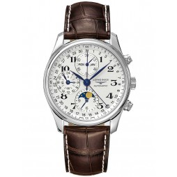 Longines Master Moonphase Chronograph Silver Dial Brown Leather Strap Watch L26734783