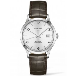 Longines Record Silver Dial Brown Leather Strap Watch L28204762