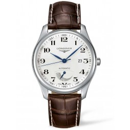 Longines Master Power Reserve Silver Dial Dark Brown Leather Strap Watch L29084783