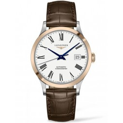 Longines Record Two Colour Brown Leather Strap Watch L28215112