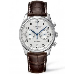 Longines Master Chronograph Silver Dial Dark Brown Leather Strap Watch L26294783