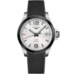 Longines Conquest White Dial Black Rubber Strap Watch L37194769