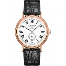 Longines Presence Automatic Rose Gold Plated White Dial Black Leather Strap Watch L49051112
