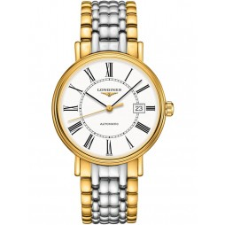 Longines Presence Automatic Gold Plated White Dial Two Colour Bracelet Watch L49222117
