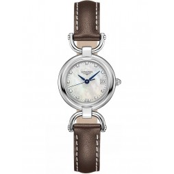 Longines Equestrian Diamond Set Mother Of Pearl Dial Brown Leather Strap Watch L61304872