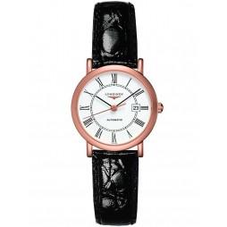 Longines Elegant 18ct Rose Gold White Dial Black Leather Strap Watch L43788110