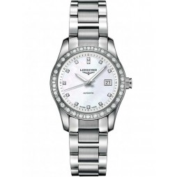Longines Conquest Diamond Set Mother Of Pearl Dial Bracelet Watch L22850876