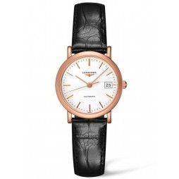 Longines Elegant 18ct Rose Gold White Dial Black Leather Strap Watch L43788120