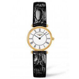 Longines Agassiz 18ct Gold White Dial Black Leather Strap Watch L41916110