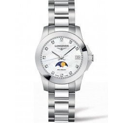 Longines Conquest Moonphase Diamond Set Mother Of Pearl Dial Bracelet Watch L33804876