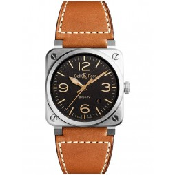 Bell & Ross Mens Instruments Aviation Heritage Watch BR0392-ST-G-HE/SCA
