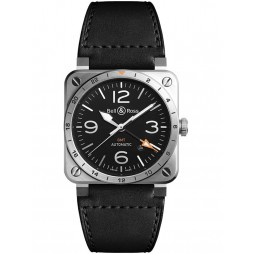 Bell & Ross Mens Instruments Aviation GMT Pointer Watch BR0393-GMT-ST-SCA
