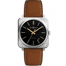 Bell & Ross Mens Instruments Golden Heritage Leather Strap Watch BRS92-ST-G-HE/SCA
