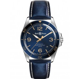 Bell & Ross Mens Aeronavale Blue Strap Watch BV292-BU-G-ST/SCA