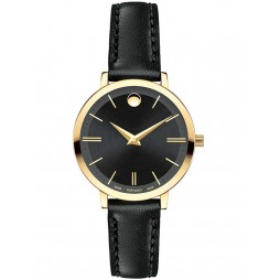 Movado Ladies Ultra Slim Black Watch 0607095