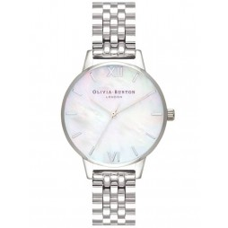 Olivia Burton Mother Of Pearl Silver Bracelet Watch OB16MOP02