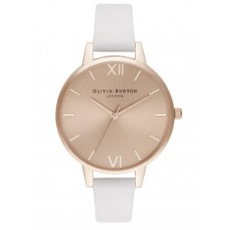 Olivia Burton Demi Rose Gold Plated Sunray Dial Blush Leather Strap Watch OB16DE08
