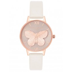 Olivia Burton 3D Butterfly Rose Gold Plated Blush Leather Strap Watch OB16MB16