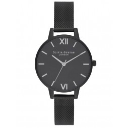 Olivia Burton After Dark Matte Black Mesh Strap Watch OB16AD51