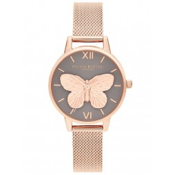 Olivia Burton 3D Butterfly Grey Dial Rose Gold Plated Mesh Strap Watch OB16MB28