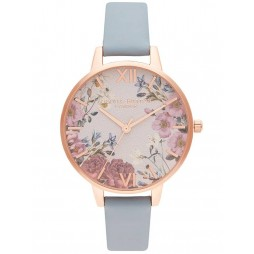 Olivia Burton British Blooms Rose Gold Plated Chalk Blue Leather Strap Watch OB16EG132