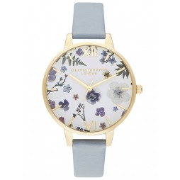 Olivia Burton Artisan Pale Gold Plated White Dial Chalk Blue Strap Watch OB16AR08