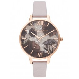 Olivia Burton Celestial Rose Gold Plated Rose Quartz Dial Pearl Pink Leather Strap Watch OB16SP15