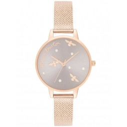 Olivia Burton Pearly Queen Rose Gold Mesh Strap Watch OB16PQ04