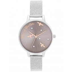 Olivia Burton Pearly Queen Rose Gold and Silver Mesh Strap Watch OB16PQ01