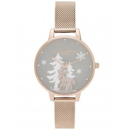 Olivia Burton Winter Wonderland Pale Rose Gold Mesh Strap Watch OB16AW01