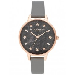 Olivia Burton Celestial Rose Gold and London Grey Strap Watch OB16GD55
