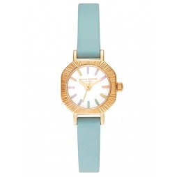 Olivia Burton Rainbow Mini Dial Gold and Turquoise Leather Strap Watch OB16CC53
