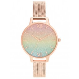 Olivia Burton Ladies RainBow Rose Gold Mesh Bracelet Glitt Dial Watch OB16RB18
