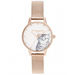 Olivia Burton Illustrated Animals Pearly Kitten Pale Rose Gold Mesh Strap Watch OB16WL88