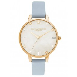 Olivia Burton Celestial Pale Gold and Chalk Blue Leather Strap Watch OB16GD31