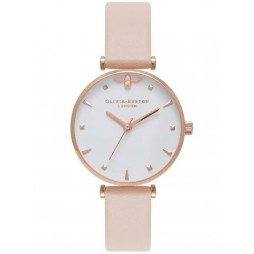 Olivia Burton Queen Bee Rose Gold Nude Peach Leather Strap Watch OB16AM95