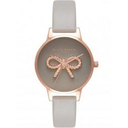 Olivia Burton Vintage Bow Rose Gold London Grey Leather Strap Watch OB16VB04